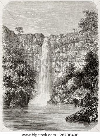 Old illustration of Reb river falls, Abyssinia. Created by De Bar, published on Le Tour du Monde, Paris, 1864