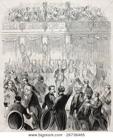 Inauguration banquet of Trieste railway station and feast for Suez channel announcement by Baron de Bruck. By Godefroy-Durand after Kanitz, published on L'Illustration Journal Universel, Paris, 1857