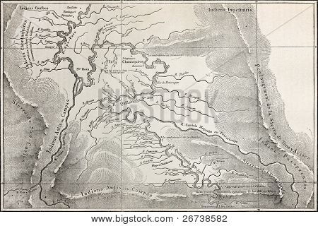 Old map of Quillabamba region, Peru. Created by Marcoy, published on Le Tour du Monde, Paris, 1864