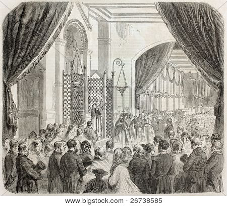 Old illustration of Vincennes imperial asylum inauguration. Created by Godefroy-Durand, published on L'Illustration Journal Universel, Paris, 1857