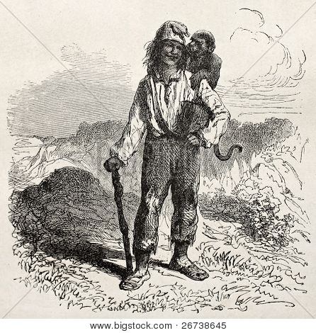 Old illustration of a man with donkey on his shoulder. Created by Riou, published on Le Tour du Monde, Paris, 1864