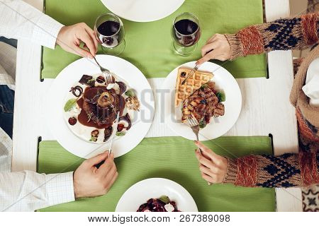 Top View Of A Romantic Dinner For Young Guys. Romantic Dinner Couples In Love In A Restaurant. The C