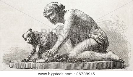 Old illustration of a statue depicting fisherman and his dog. Created by Nast, published on L'Illustration Journal Universel, Paris, 1857 poster