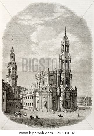 Old illustration of Katholische Hofkirche in Dresden, the Catholic Church of the Royal court of Saxony. Created by Freeman and Pontenier, published on Magasin Pittoresque, Paris, 1850