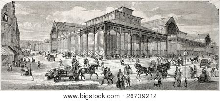 Old illustration of covered marketplace built in Paris. Created by Provost, published on L'Illustration Journal Universel, Paris, 1857
