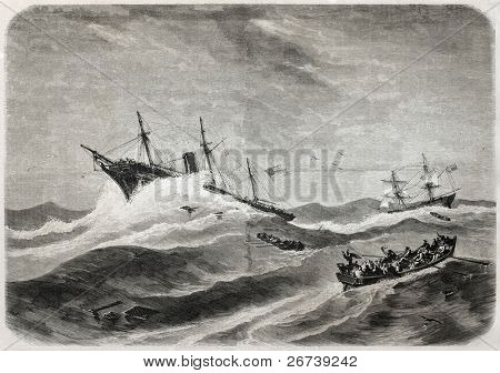 Old illustration of SS Central America shipwreck while off Carolinas coast. Created by Berard, published on L'Illustration Journal Universel, Paris, 1857