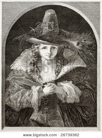 Old illustration of girl wearing brigand hat. Created by Anelay after picture of Uwins kept in London National Gallery. Published on Magasin Pittoresque, Paris, 1850
