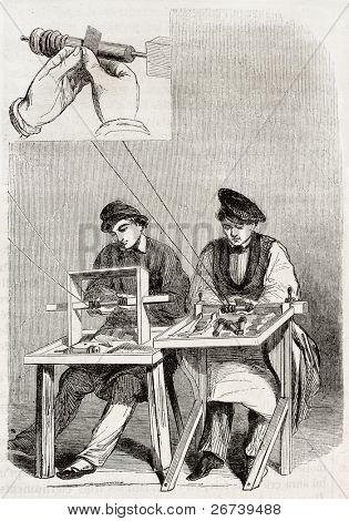 Old illustration of burnishing workshop in antique needle factory. By unidentified author, published on Magasin Pittoresque, Paris, 1850
