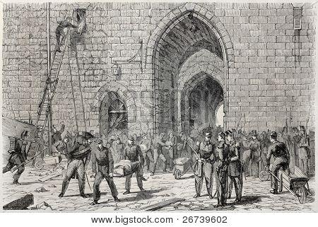 Old illustration of victim transportation after Vincennes castle tower collapse. Created by Peyronnet, published on L'Illustration Journal Universel, Paris, 1857