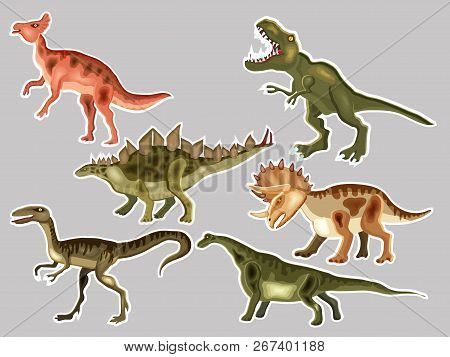 T-rex,  Tyrannosaur, Velociraptor, Triceratops, Brontosaurus, Parasaurolophus, Stegosaurus. Cute Vec
