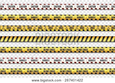 Set Of Yellow With Black Police Line.  Warning Seamless Tapes. Caution Lines. Isolated On Transparen