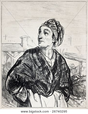 Old engraved portrait of a woman. Created by Gavarni, published on L'Illustration, Journal Universel, Paris, 1857