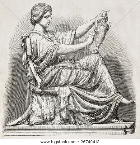 Old illustration of an Etruscan subject sculpted. Created by Simyan, published on L'Illustration, Journal Universel, Paris, 1857