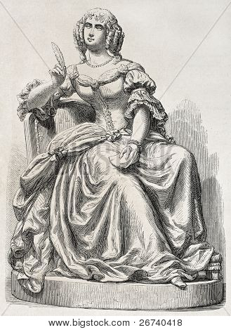 Old illustration of a statue depicting Mademoiselle de Sevigne. Sculpted by Rochet, published on L'Illustration, Journal Universel, Paris, 1857