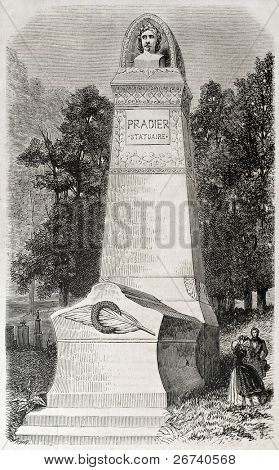 Old illustration of funereal monument of James Pradier, French sculptor. Created by Provost, published on L'Illustration, Journal Universel, Paris, 1857