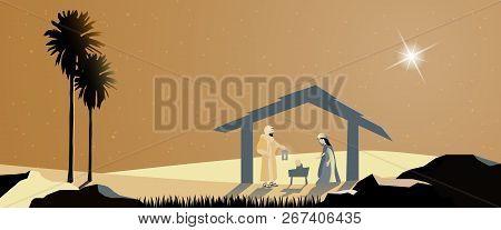 Christmas Time. Nativity Scene With Mary, Joseph And Baby Jesus.