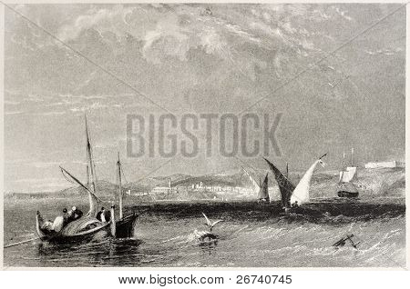 Old view of Annaba, Algeria. Created by Salmon and Appleton, published on Il Mediterraneo Illustrato, Spirito Battelli ed., Florence, Italy, 1841