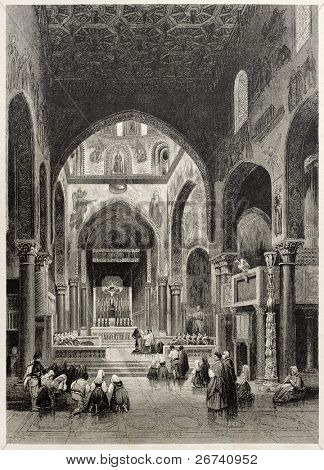 Old illustration of Vespers in the Royal chapel, Palermo, Italy. Created by Leitch and Capone, published on Il Mediterraneo Illustrato, Spirito Battelli ed., Florence, Italy, 1841