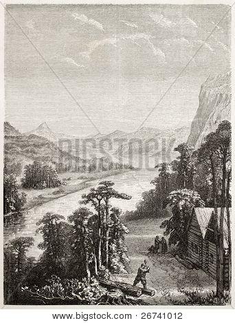 Old illustration of Amur river. Created by Grandsire and Gauchard after sketch of Raddle, published on Le Tour du Monde, Paris, 1860