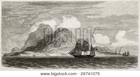 Old illustration of Montserrat island, Caribbean sea. Created by Berard after Reclus, published on Le Tour du Monde, Paris, 1860