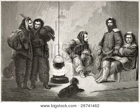 Elisha K.Kane (sitting central figure) and companions old illustration during Arctic expedition. Created by Stahl after Kane, published on Le Tour du Monde, Paris, 1860