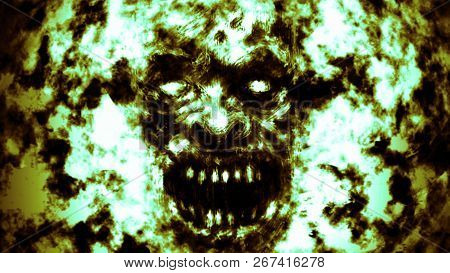 Angry Burning Ghoul Face Illustration. Green Background Color.