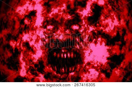 Angry Bloody Ghoul Face. Illustration In Genre Of Horror. Red Background
