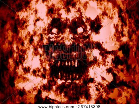 Angry Bloody Ghoul Face. Red Background. Illustration In Genre Of Horror.
