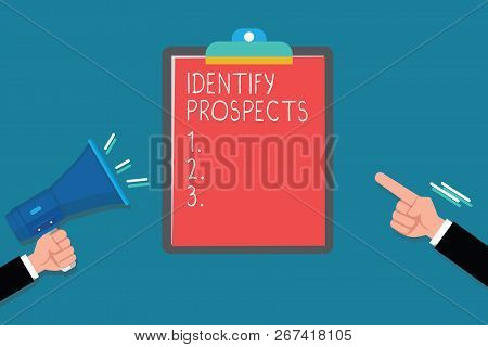 Handwriting text Identify Prospects. Concept meaning Possible client Ideal Customer Prospective Donors poster
