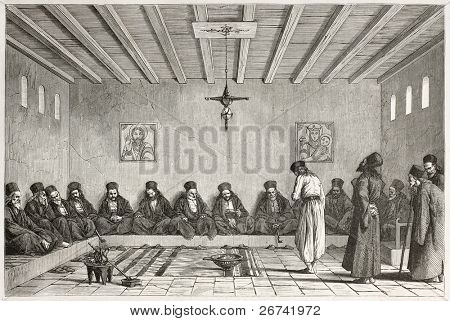 Epistates council old illustration, Mount Athos, Greece. Created by Boulanger after Proust, published on Le Tour du Monde, Paris, 1860 poster