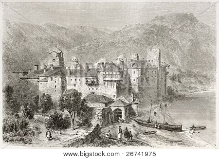 Esphigmenou monastery old view, Mount Athos, Greece. Created by Girardet after photo of unknown author, published on Le Tour du Monde, Paris, 1860