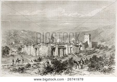 Iviron monastery old illustration, Mount Athos, Greece. Created by Girardet after photo of unknown author, published on Le Tour du Monde, Paris, 1860