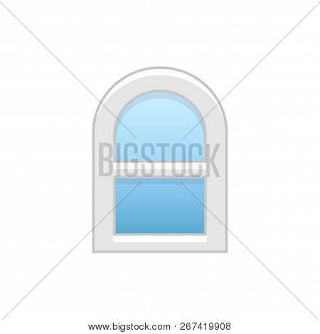 Vector illustration of arc vinyl single-hung sash window. Flat icon of traditional aluminum arched window with sliding panels. Isolated object on white background. poster