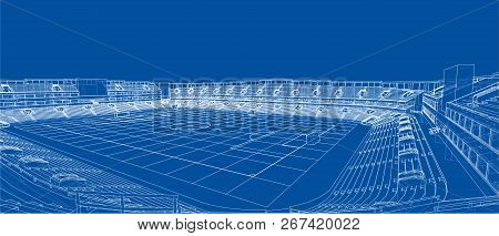 Sketch Of Football Stadium. Vector Rendering Of 3d. Wire-frame Style