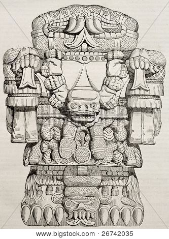 Teoyaomicqui, Aztec god of dead lost souls, old illustration. By unidentified author, published on Magasin Pittoresque, Paris, 1840