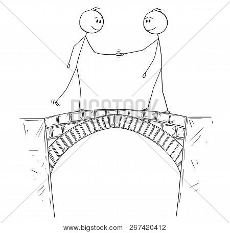 Cartoon Stick Drawing Conceptual Illustration Of Two Man, Politicians Or Businessmen Shaking Hands O