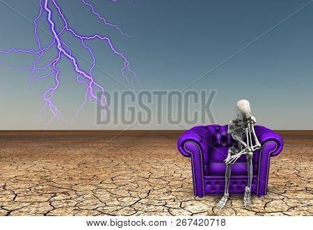 Lighting strikes near contemplative skeletal figure. Purple armchair in arid lands. 3D rendering