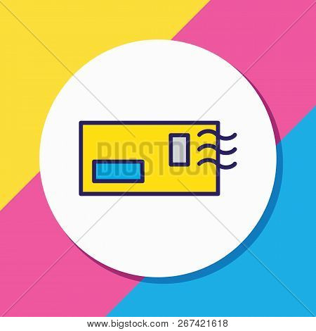 Vector Illustration Of Postcrossing Icon Colored Line. Beautiful Hobby Element Also Can Be Used As E
