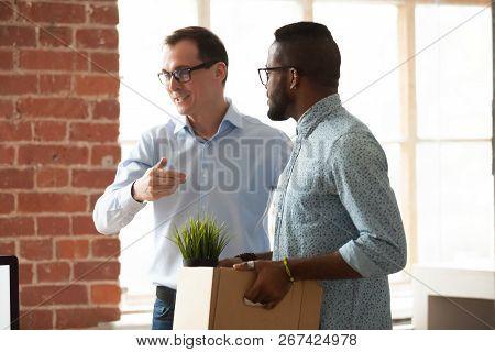 Businessman Introduce Black Newcomer To Company Team