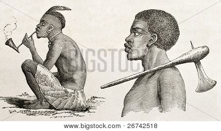 Tanganyika lake western coast dwellers. Created by Burton, published on  Le Tour du Monde, Paris, 1860