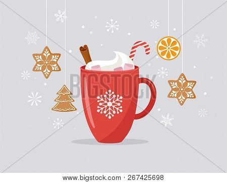 Merry Christmas, Winter Scene With A Big Cocoa Mug And Homemade Gingerbread, Vector Concept Illustra