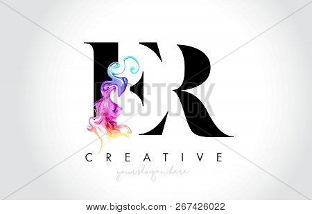 Er Vibrant Creative Leter Logo Design With Colorful Smoke Ink Flowing Vector Illustration.