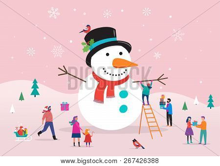 Merry Christmas Card, Background, Bannner With Huge Snowman And Small People, Young Men And Women, F