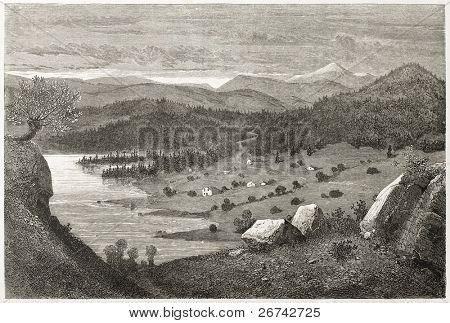 Bolkesjo valley old view, Norway. Created by Dore after Riant, published on Le Tour du Monde, Paris, 1860