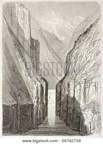 Gudvangen fjord old view, Norway. Created by Dore after Riant, published on Le Tour du Monde, Paris, 1860