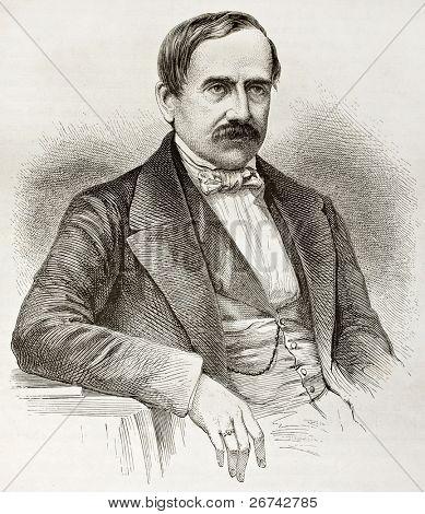 Antoine Brun-Rollet old engraved portrait. Created by Fath after photo of unknown author, published on Le Tour du Monde, Paris, 1860 poster