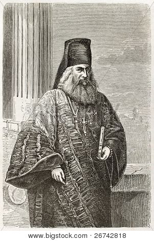 Iviron monastery Higumen old engraved portrait. Created by Pelcoq after photo of unknown author, published on Le Tour du Monde, Paris, 1860