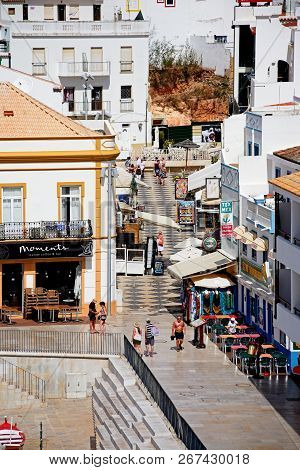 Albufeira, Portugal - June 10, 2017 - Elevated View Of R. Sao Concalo De Lagos In The Old Town, Albu