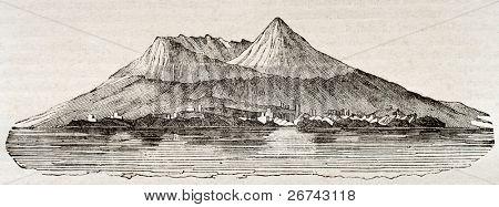 Mount Vesuvius after 79 A.D. eruption. By unidentified author, published on Magasin Pittoresque, Paris, 1840 poster