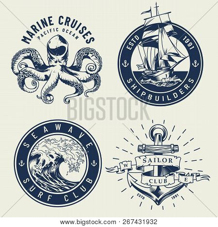 Vintage Monochrome Nautical Labels With Octopus Ship Sea Wave Anchor Isolated Vector Illustration